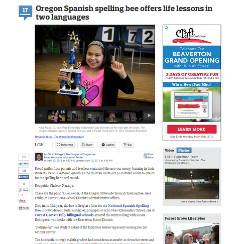Oregon Spanish spelling bee offers life lessons in two ...